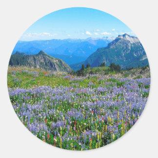 Mountain Purple Heather Haze Round Sticker