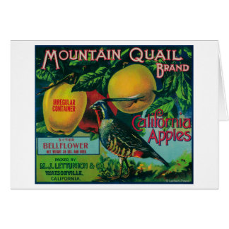 Mountain Quail Apple Crate Label Greeting Card