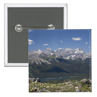 Mountain Range And Lake From On Top Of A Mountain 15 Cm Square Badge