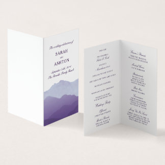 Mountain Range Mini Wedding Program Card