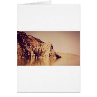 Mountain Range Near Water Nostalgic Postcard Image