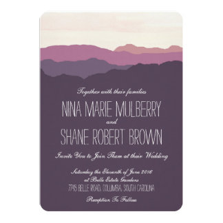 """Mountain Range"" Wedding Invitation 5""x7"" Purple"