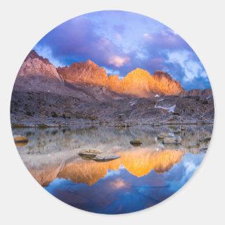 Mountain reflection, California Classic Round Sticker