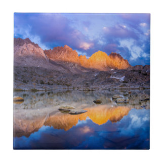 Mountain reflection, California Small Square Tile