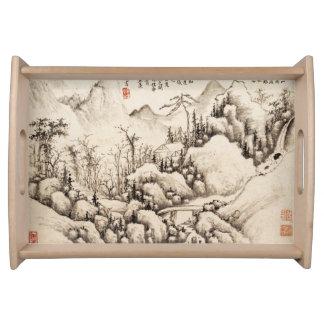 """Mountain Retreat"" Chinese vintage ink brush art Serving Tray"