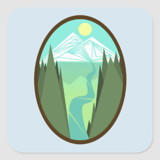 Mountain River Sunrise Sticker