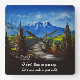 Mountain Road Prayer Square Wall Clock
