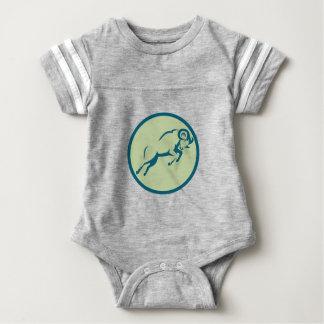 Mountain Sheep Jumping Circle Icon Baby Bodysuit
