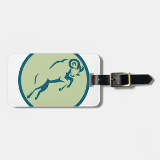 Mountain Sheep Jumping Circle Icon Luggage Tag