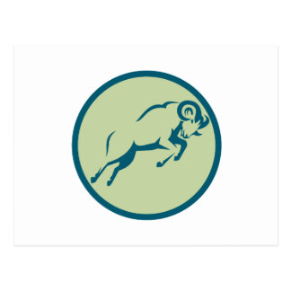 Mountain Sheep Jumping Circle Icon Postcard