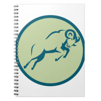 Mountain Sheep Jumping Circle Icon Spiral Notebook