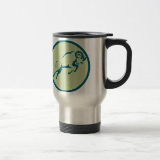Mountain Sheep Jumping Circle Icon Travel Mug