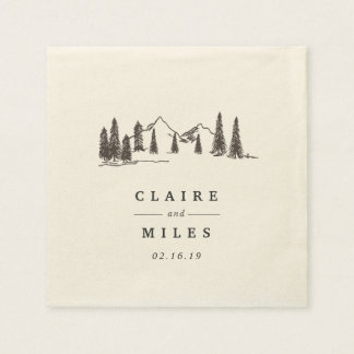 Mountain Sketch | Personalized Wedding Paper Serviettes