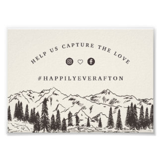 Mountain Sketch Wedding Hashtag Sign