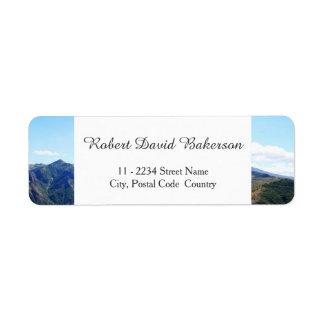 Mountain, sky landscape photography return address label