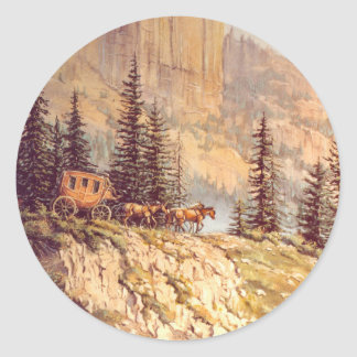 MOUNTAIN STAGECOACH by SHARON SHARPE Classic Round Sticker