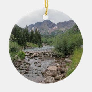 Mountain Stream - Maroon Bells Ceramic Ornament