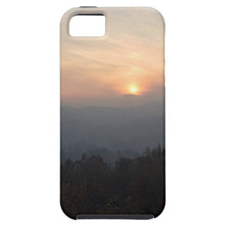 mountain sunset in a haze iPhone 5 case