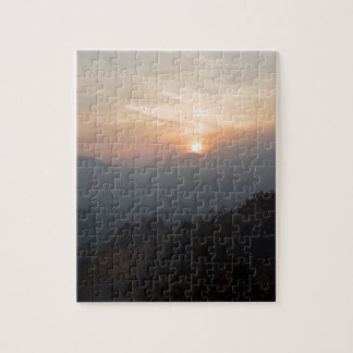 mountain sunset in a haze jigsaw puzzle