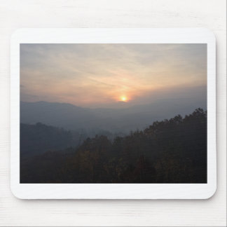 mountain sunset in a haze mouse pad