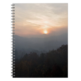 mountain sunset in a haze notebooks
