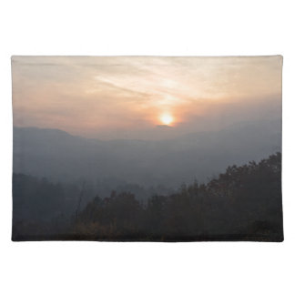 mountain sunset in a haze placemat