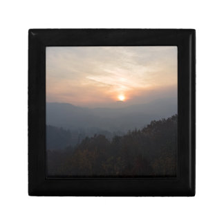 mountain sunset in a haze small square gift box