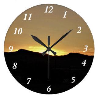 Mountain Sunset Large Clock