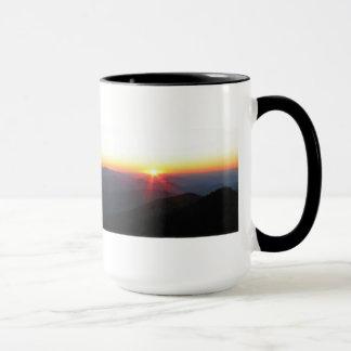 Mountain Sunset w/shimmering rays / J Muir Mug