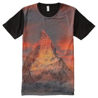 Mountain Switzerland Matterhorn Zermatt Red Sky All-Over Print T-Shirt