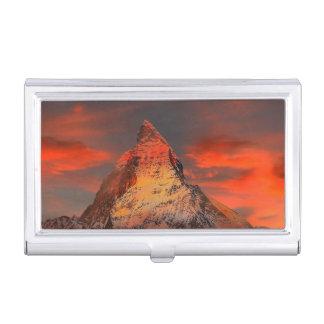Mountain Switzerland Matterhorn Zermatt Red Sky Business Card Holder