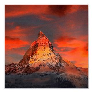 Mountain Switzerland Matterhorn Zermatt Red Sky Card