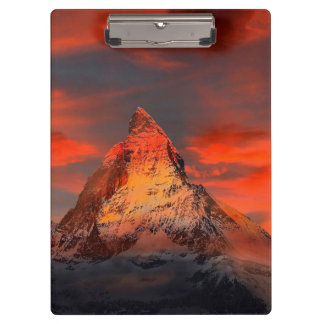 Mountain Switzerland Matterhorn Zermatt Red Sky Clipboard