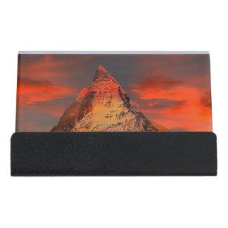 Mountain Switzerland Matterhorn Zermatt Red Sky Desk Business Card Holder