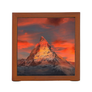Mountain Switzerland Matterhorn Zermatt Red Sky Desk Organiser
