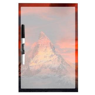 Mountain Switzerland Matterhorn Zermatt Red Sky Dry Erase Board