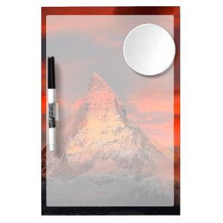Mountain Switzerland Matterhorn Zermatt Red Sky Dry Erase Board With Mirror