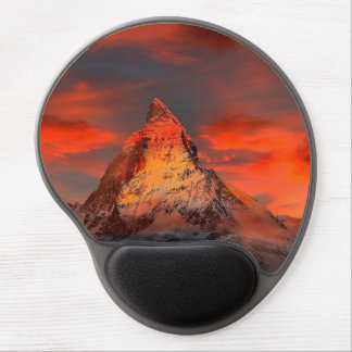 Mountain Switzerland Matterhorn Zermatt Red Sky Gel Mouse Pad