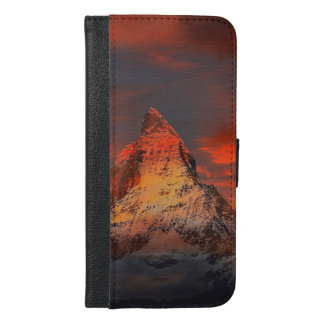 Mountain Switzerland Matterhorn Zermatt Red Sky iPhone 6/6s Plus Wallet Case