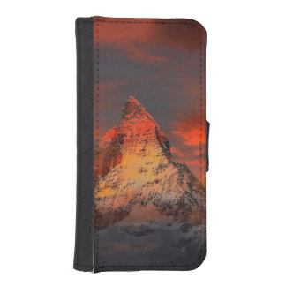 Mountain Switzerland Matterhorn Zermatt Red Sky iPhone SE/5/5s Wallet Case