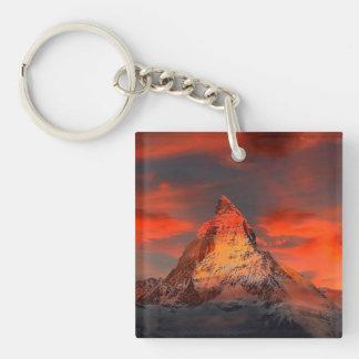 Mountain Switzerland Matterhorn Zermatt Red Sky Key Ring