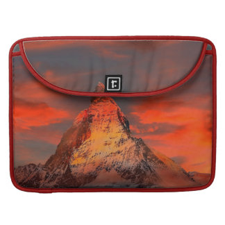 Mountain Switzerland Matterhorn Zermatt Red Sky MacBook Pro Sleeves