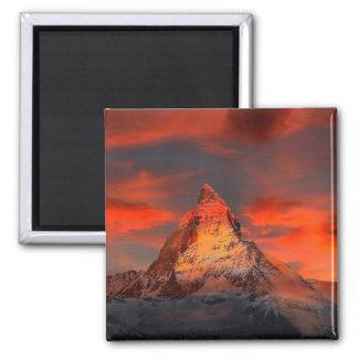 Mountain Switzerland Matterhorn Zermatt Red Sky Magnet