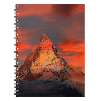 Mountain Switzerland Matterhorn Zermatt Red Sky Notebooks