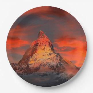 Mountain Switzerland Matterhorn Zermatt Red Sky Paper Plate