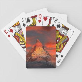 Mountain Switzerland Matterhorn Zermatt Red Sky Playing Cards