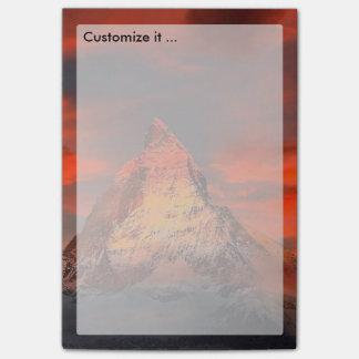 Mountain Switzerland Matterhorn Zermatt Red Sky Post-it Notes
