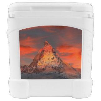 Mountain Switzerland Matterhorn Zermatt Red Sky Rolling Cooler