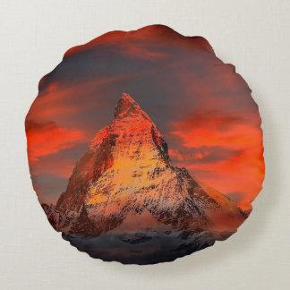 Mountain Switzerland Matterhorn Zermatt Red Sky Round Cushion