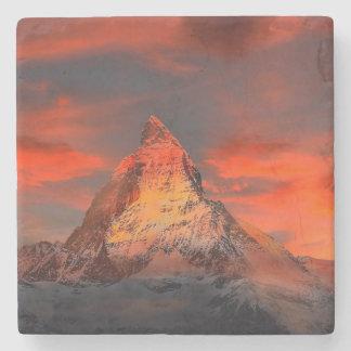 Mountain Switzerland Matterhorn Zermatt Red Sky Stone Coaster